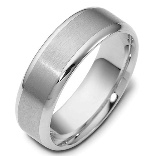 Sterling Silver, 7MM Satin and Polished Wedding Band (sz 9)