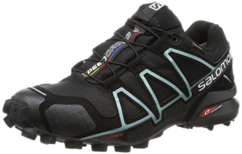 Salomon Speedcross 4 Gtx, Scarpe da Trail Running Donna, Nero (Black/Black/Metallic Bubble Blue), 38 2/3 EU