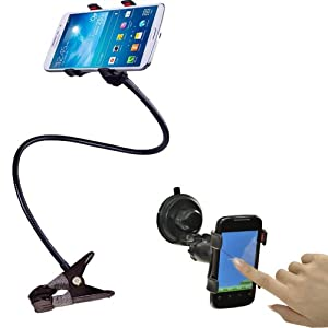 BESTEK cell phone clip holder stand with suction cup mount+gooseneck clip clamp mount on car,desk,windshield,dashboard,table for iphone 5,4s,3gs,ipod,gps,PDA,samsung galaxy,HTC, nokia,lg,blackberry holder ect. BTIH750