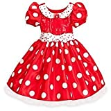 Disney Store Red Dazzling Sparkle Minnie Mouse Costume with White Satin Accents Size 5/6 (MOUSE EARS INCLUDED)