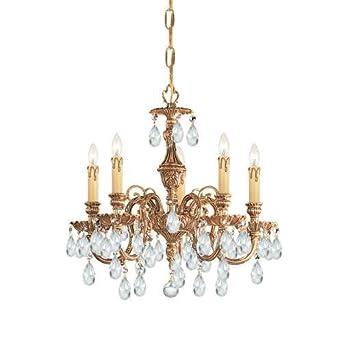 Crystorama Lighting Group 2905-CL Baroque 5 Light Cast Brass Crystal Chandelier, Olde Brass / Swarovski Spectra