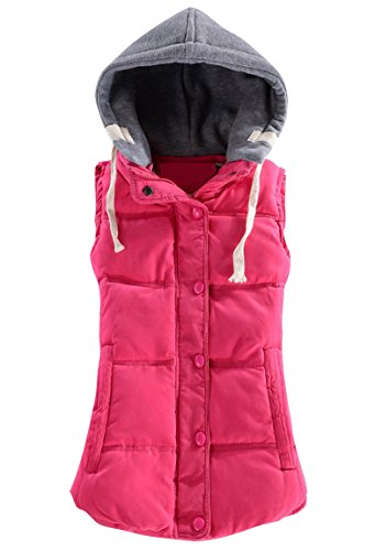 Women Winter Vest Solid Cotton Zip Up Sleeveless Lightweight Quilted Slim Hooded Waistcoat Outdoor Pink XXXL (Quilted Waistcoat compare prices)