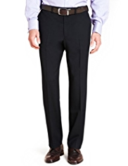 Big & Tall Supercrease™ Active Waistband Flat Front Trousers with Wool