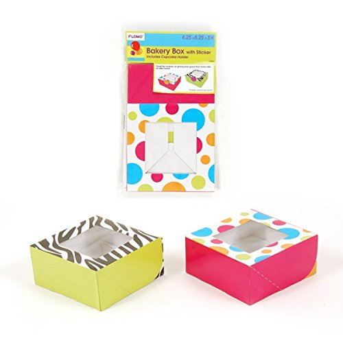 "Bakery Box With Sticker And Cupcake Holder, 6.25""X6.25""X3""H 2 Styles (12/36)"