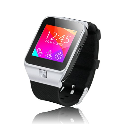 EXCELVAN 3-in-1 1.54 Inch ZGPAX Touch Screen Unlocked Watch Cell Phones Quad Band GSM + Bluetooth Smart Watches Sync Callings Music For IOS And Android Smartphones (Anti-lost,Remote Capture,Sync SMS For Android Phones) + Health Manager (Pedometer, Sedenta