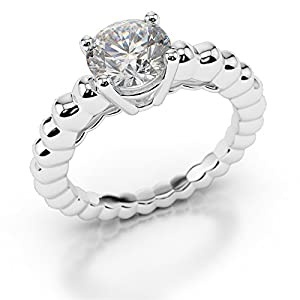 Certified Solitaire Diamond Engagement Ring, 950 Platinum, Round (0.30 CT, H/SI2)