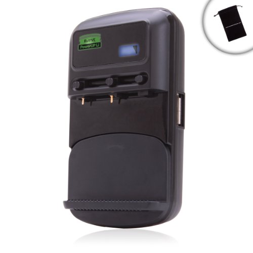 ReVIVE PowerUP Li Universal Adjustable Battery Charger with Flip-Down AC Plug & USB Port - Works with Sony , Canon , Nikon , Fujifilm , Panasonic , Olympus , Kodak & More Digital Cameras **Includes Accessory Bag** at Electronic-Readers.com
