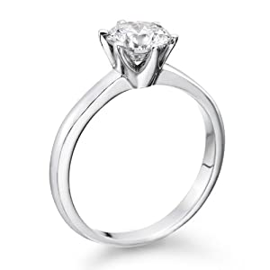 Solitaire Diamond Ring 1/2 ct, H Color, VS1 Clarity, Certified, Round Cut, in 18K Gold / White