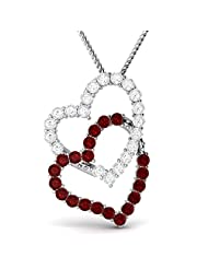 Ciemme Synthetic Red Ruby Gemstone Interlocking Heart Pendant For Women In 925 Sterling Silver