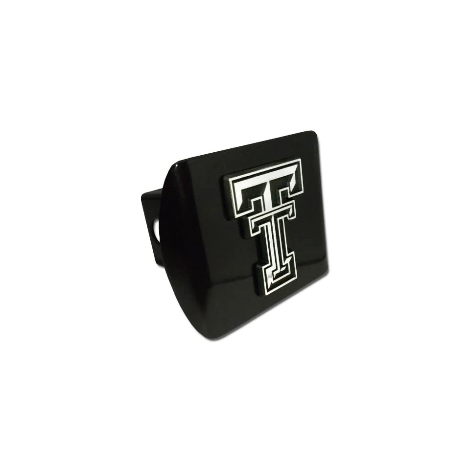 Texas Tech Red Raiders Black with Chrome TT Emblem NCAA College Sports Metal Trailer Hitch Cover Fits 2 Inch Auto Car Truck Receiver