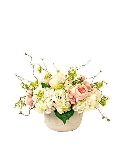 Creative Displays Rose & Hydrangea Floral In Ceramic Vase, Cream/Pink/Green