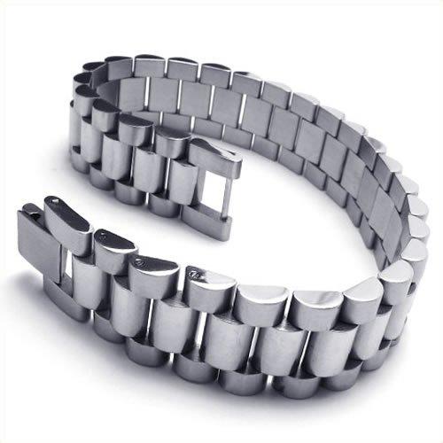 KONOV Jewelry Stainless Steel Link Men's Bangle Bracelet, Silver, 8 3/4 Inch