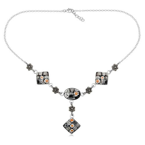 925 Sterling Silver Black White Millefiori Glass With Marcasite Women Fashion Necklace Jewelry 42cm Length