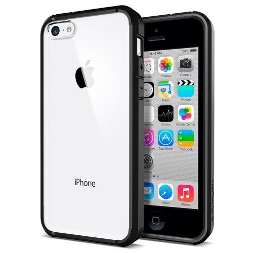[AIR CUSHION] Spigen Apple iPhone 5C Case Bumper ULTRA HYBRID [Black] [1 Screen Protector + 2 Design Graphics Included] Clear Back Bumper Case for iPhone 5C - ECO-Friendly Packaging - Black (SGP10555)