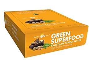 GREEN SUPERFOOD High Protein Energy Bars (Chocolate Peanut Butter - Box of 12)