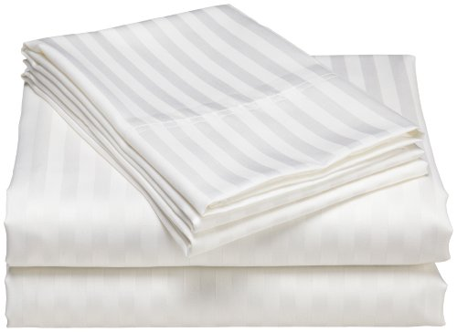 Elite Home Collection Wrinkle Resistant Woven Stripe 300-Thread Count 100-Percent Cotton Sateen Queen Sheet Set, White
