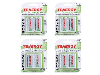 Combo: 4 Cards Tenergy Centura Nimh 9V 200Mah Low Self Discharge Rechargeable Batteries (Total 8 Of 9V)