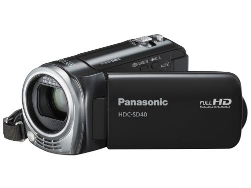 Panasonic SD40 Full HD Camcorder - Black (SD Card Recording, x16.8 Optical Zoom, Wide Angle Lens, iA + AF Tracking)