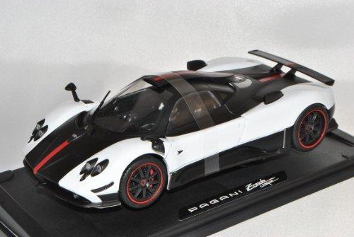 Pagani Zonda 5 Cinque Coupe Weiss Karbon 1/18 Motormax Modell Auto mit individiuellem Wunschkennzeichen
