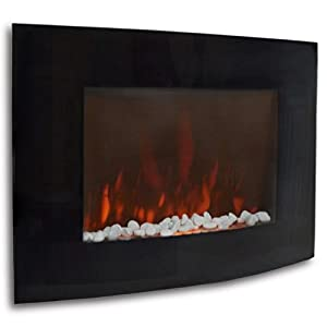 Tms 1500w Electric Wall Mount Fireplace Heater Remote Adjustable Heat Glass Xl Large