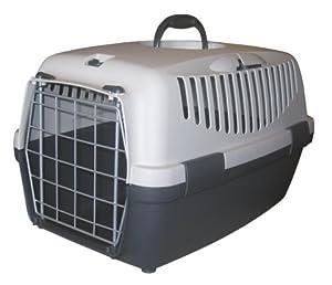 Pet Transport Carrier with Metal Door & Safety Belt Attachment - Grey 48 x 32 x 31 cm