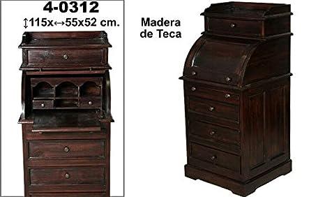 DonRegaloWeb - Escritorio de madera de teca estilo antiguo con cajones y tapa decorada en color teca.