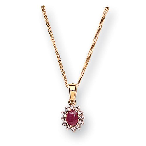 SI Diamond with Ruby Pendant Necklace in 9ct Yellow Gold