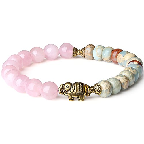 AmorWing Rose Quartz and Variscite Energy Bracelet Yoga Mala Reiki Healing Bracelet 6mm