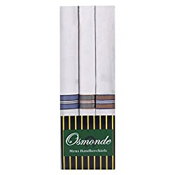 Osmonde Essential Mens Cotton Handkerchiefs Pack of 3