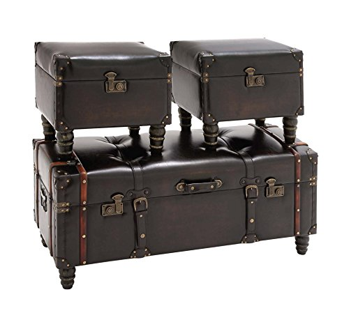 Deco 79 Wood Leather Trunk, 40 by 17 by 17-Inch, Set of 3 2