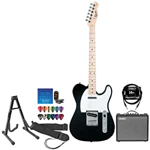 Fender 6P-3IZ0-IB1H Starcaster Black Telecaster Electric Guitar Pack