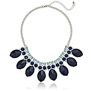 Large Marquise Shaped Blue Faceted Stone Statement Necklace, 20.5