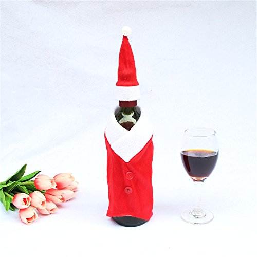 Decorazioni di Natale, Decorazione per albero di Natale, Natale di vino Bottiglie di vino rosso bottiglia vestiti (3pz/set), cappello pulsante + abito