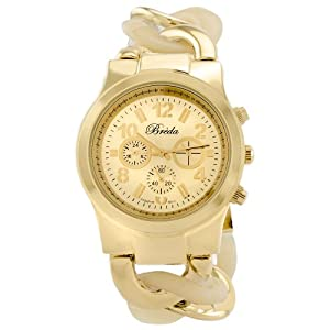 Breda Women's 2331-Horn Locklin Horn and Gold Circular Links Watch