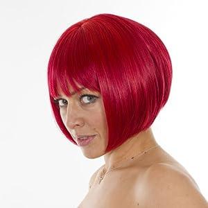 Vibrant Red Short Bob Fashion Wig with Fringe | Rihanna