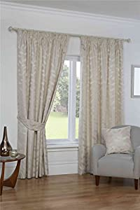 """Embroidered Leaf Cream Beige Gold 66x90"""" 168x229cm Lined Pencil Pleat Curtains from Curtains"""