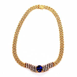 Estate 22.45 Cts Tanzanite Diamond 18k Gold Necklace