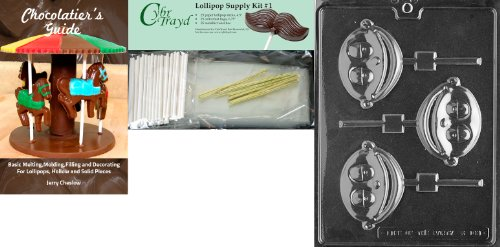 Cybrtrayd 'Baby Boy Lolly Kids' Chocolate Candy Mold With Chocolatier'S Bundle Of 25 Lollipop Sticks, 25 Cello Bags, 25 Gold Twist Ties And Instructions front-963996