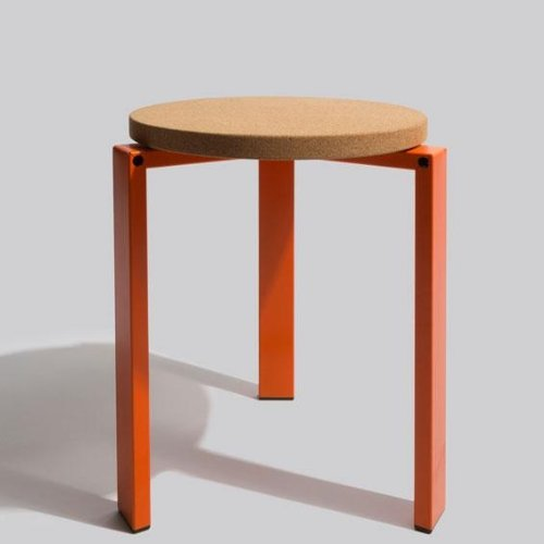 HAY Stanley Stool Hocker, orange kork Gestell Stahl Ø 34,5cm
