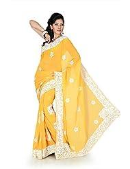 Designersareez Women Chiffon Embroidered Golden Yellow Saree With Unstitched Blouse(1203)