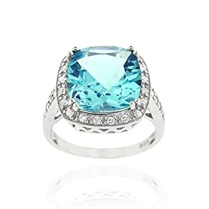 Sterling Silver 7.55ct. TGW Blue Topaz & CZ Square Cocktail Ring