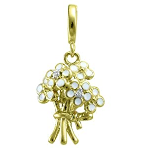 18k Gold Over Sterling Silver Diamond Accent Bouquet Charm