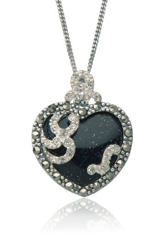 Sterling Silver Marcasite & Blue Gold Stone Heart Pendant, 18
