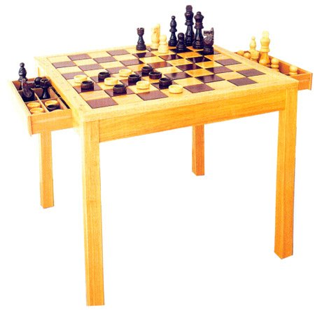 "Full Size 29"" Wooden Chess & Checkers 2-in-1 table w/ Chessmen & Checkers Chips - 7"" High King"