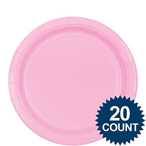 "Amscan Birthday Celebration Party Round Plates, 9"", Pink"