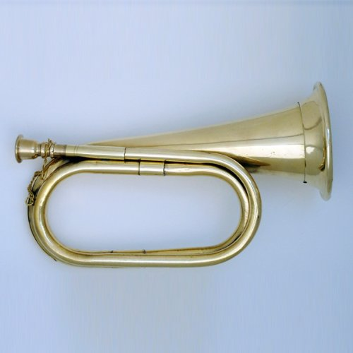 Civil-War-Era-Solid-Brass-Bugle-US-Military-Cavalry-Horn-New