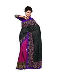 Pink Black ArtBhagalpur Silk Saree With Unstitched Blouse 123 B By Roop Kashish