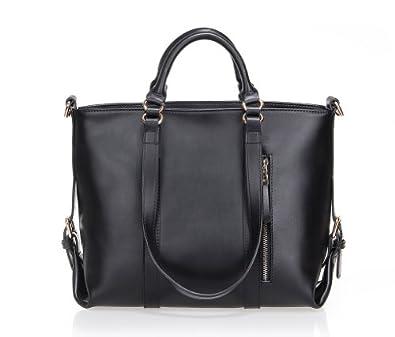 Fineplus Women's Large Lady Genuine Leather Multifunctional Shoulder Strap Tote Bags Handbag Black