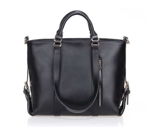 Fineplus Women's Large Lady Genuine Leather Multifunctional Shoulder Strap Tote Bags Handbag Black