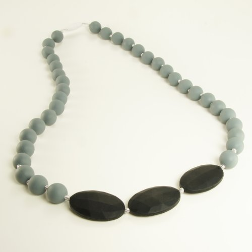 Teething Necklace Jewelry - Organic BPA Free Silicone Chew Beads Teether Toys for Nursing Moms - Libretto - Grey with Black